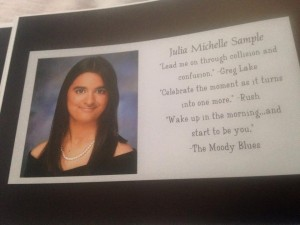 J. Michelle's GL Quote in her yearbook listing
