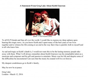 Greg Lake's Statement on Keith Emerson's Passing