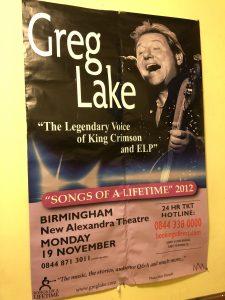 "2012 ""Songs of a Lifetime"" Greg Lake Tour Poster"